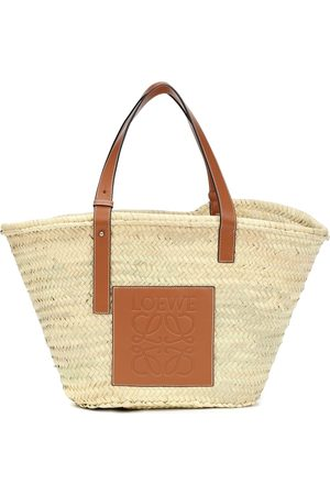 Loewe Large leather-trimmed basket tote