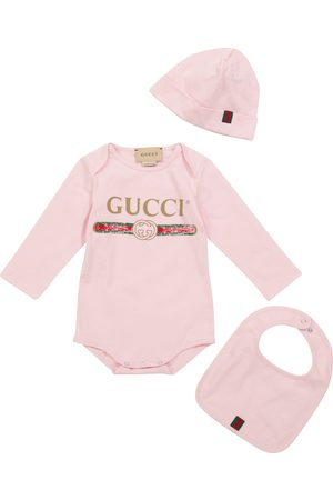 Gucci Baby logo cotton bodysuit, hat and bib set