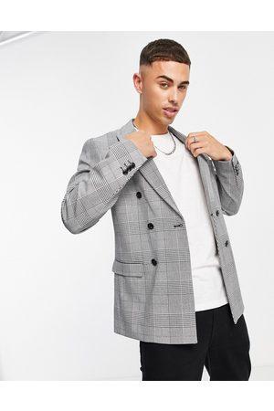 JACK & JONES Miehet Päällystakit - Premium relaxed fit double breasted suit jacket in heritage check-Black