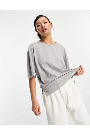 French Connection Naiset T-paidat - Organic cotton boxy t-shirt in light grey