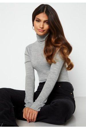 SELECTED FEMME Costina LS knit rib rollneck Light Grey Melange XL