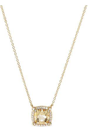 David Yurman 7mm 18kt yellow Chatelaine pavé diamond citrine pendant necklace