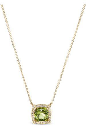 David Yurman 7mm 18kt yellow gold Chatelaine peridot and diamond necklace