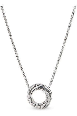 David Yurman Sterling crossover mini diamond pendant necklace