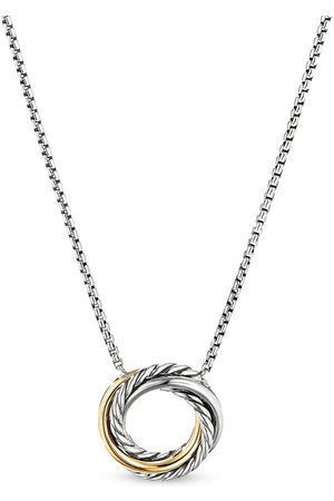 David Yurman Sterling and 18kt yellow gold crossover mini pendant necklace
