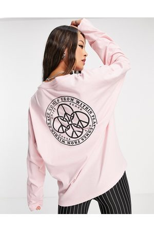 Topshop Naiset T-paidat - Peace comes from within long sleeve skater in pink