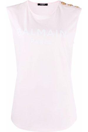 Balmain Logo-print sleeveless T-shirt