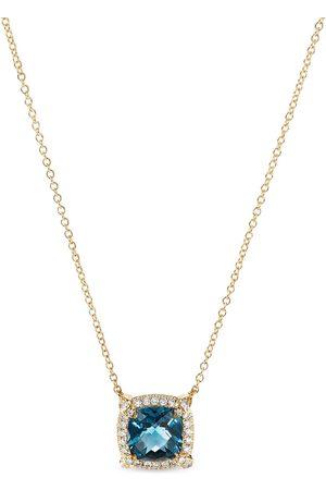 David Yurman 7mm 18kt yellow gold Chatelaine topaz and pavé diamond necklace