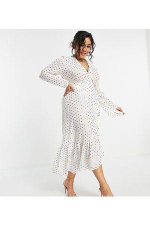 Never Fully Dressed Plus Tie wrap midi dress in white metallic rainbow spot