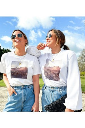 Labelrail X Collyer Twins relaxed sweatshirt with sunflower graphic print-White