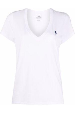 Polo Ralph Lauren Naiset T-paidat - Embroidered-logo v-neck T-shirt