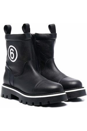 MM6 KIDS Nilkkurit - TEEN logo-print chunky leather boots