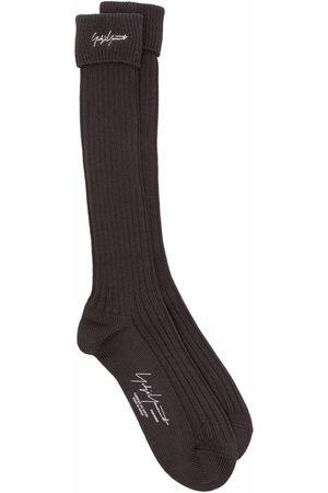 YOHJI YAMAMOTO Miehet Sukat - Embroidered logo ribbed socks