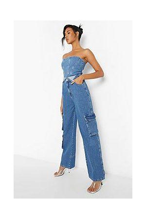 Boohoo Loose Fit Cargo Denim Jean