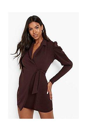 Boohoo Naiset Kesämekot - Puff Sleeve Wrap Blazer Dress