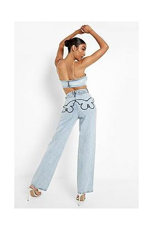 Boohoo Boyfriend Jeans With Butterfly Embroidery