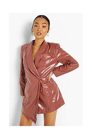 Boohoo Petite Faux Leather Wrap Blazer Dress