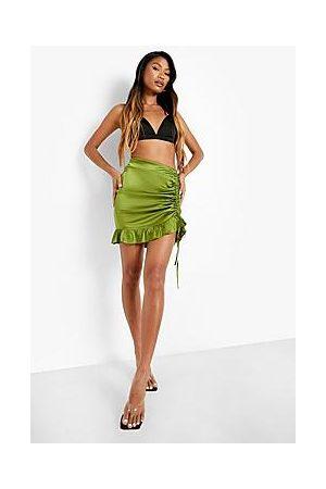 Boohoo Satin Rouched Mini Skirt