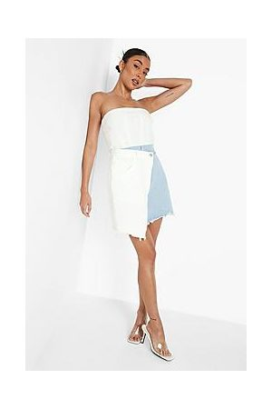 Boohoo Asymmetric Spliced Denim Mini Skirt