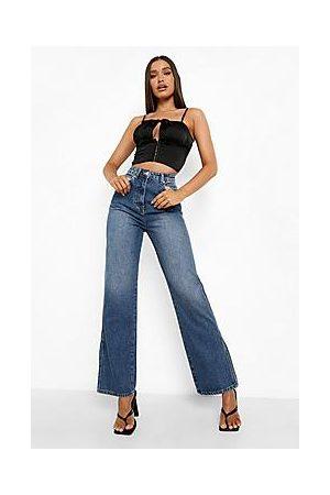 Boohoo Split Hem Wide Leg Jeans