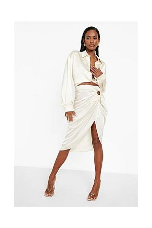 Boohoo O-ring Ruched Wrap Midi Skirt