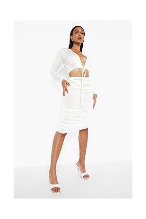 Boohoo Slinky Wrap Crop & Ruched Midi Skirt