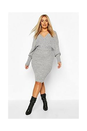 Boohoo Plus Wrap Knitted Midi Dress