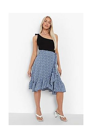 Boohoo Ditsy Floral Wrap Midi Skirt