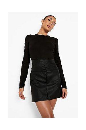 Boohoo Seam Detail Pu Mini Skirt