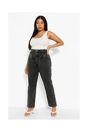 Boohoo Plus Acid Wash Double Layer Mon Jeans