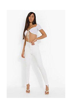 Boohoo Distressed Asymmetric Hem Skinny Jeans