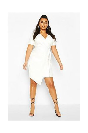 Boohoo Plus Leather Look Wrap Dress