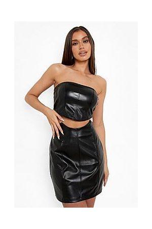 Boohoo Panel Waist Detail Leather Look Mini Skirt