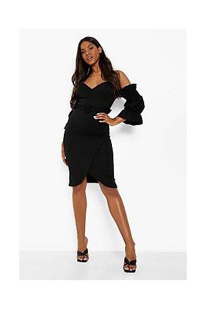Boohoo Off The Shoulder Wrap Midi Dress