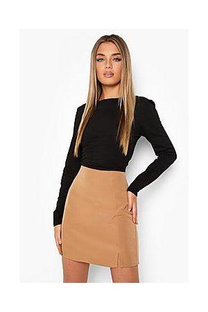 Boohoo Double Split Front Woven Mini Skirt