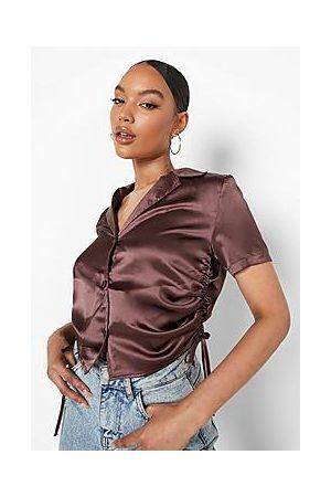 Boohoo Satin Ruched Cropped Shirt