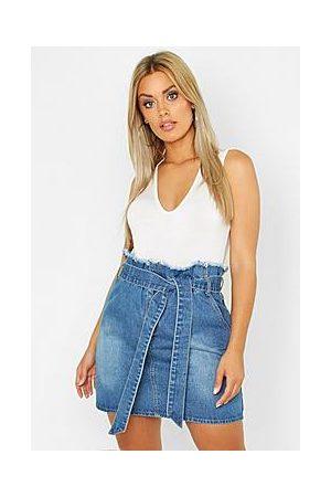 Boohoo Plus Paperbag Waist Denim Skirt