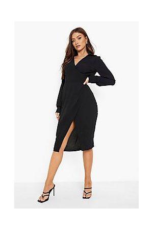 Boohoo Textured Wrap Front Midi Shirt Dress