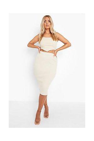 Boohoo Plus Premium Rib Midi Skirt