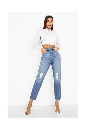 Boohoo High Waist Slashed Knee Mom Jeans