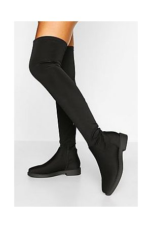 Boohoo Flat Stretch Over The Knee Boot