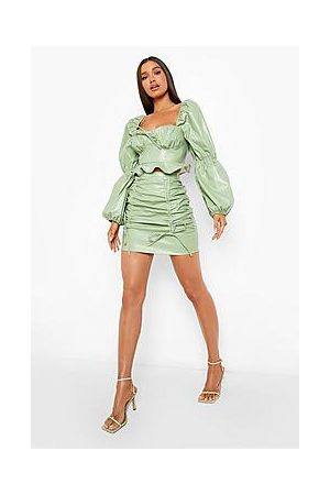 Boohoo Leather Look Ruched Front Skirt