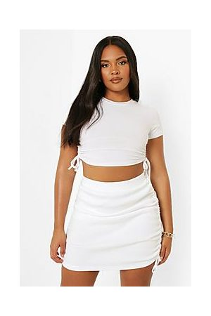 Boohoo Plus Rib Ruched Mini Skirt