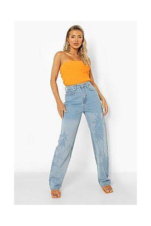 Boohoo Gradiant Palm Print Boyfriend Jeans