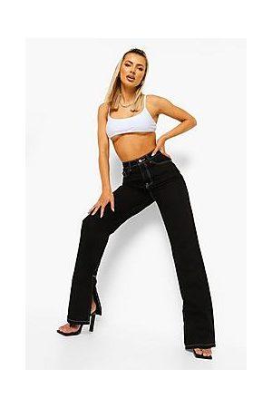 Boohoo Contrast Stitch Split Hem Jeans