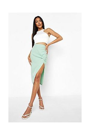 Boohoo Woven Ruched Detail Midi Skirt