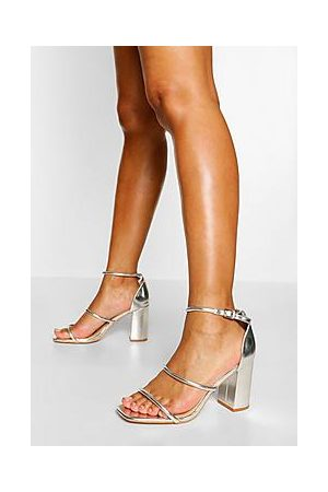 Boohoo Triple Strap Block Heel Sandals