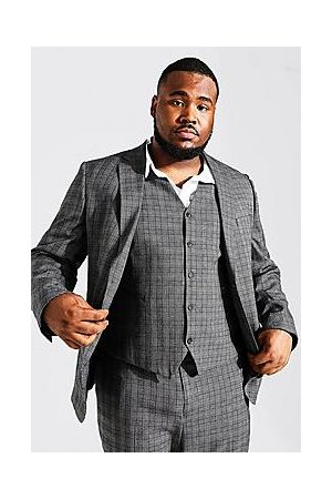Boohoo Plus Size Slim Fit Check Single Breasted Suit Jacket