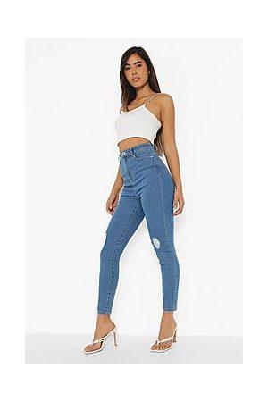 Boohoo High Waisted Distressed Skinny Jean