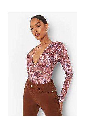 Boohoo Marble Print Long Sleeve Bodysuit